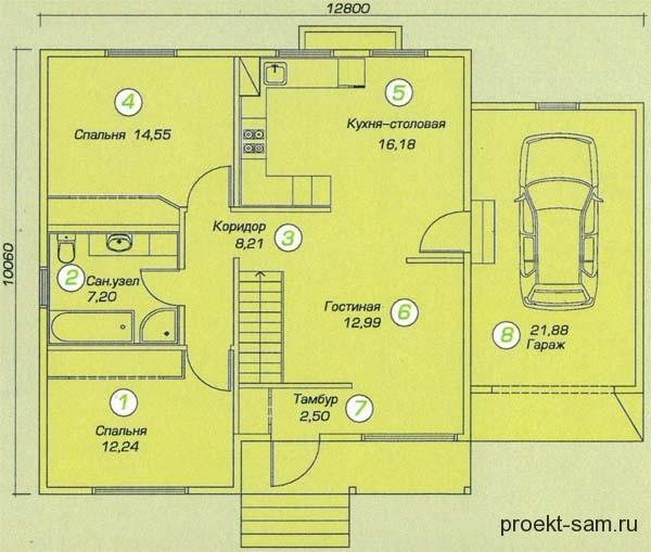 Planen Einstöckiges Haus Mit Einer Garage Fläche Von 110 Quadratmetern. M