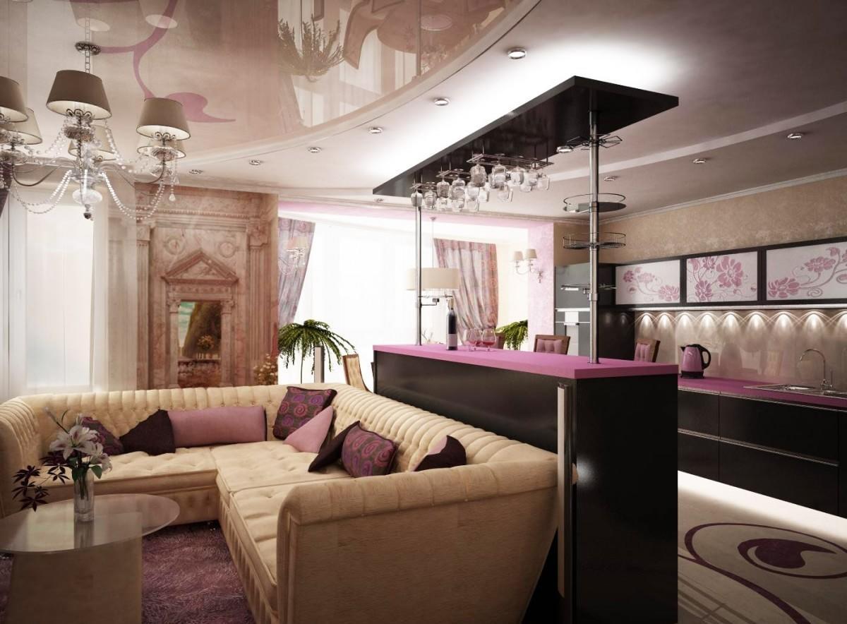 Design-Interieur des Wohnzimmers kombiniert mit der Küche. Küche ...