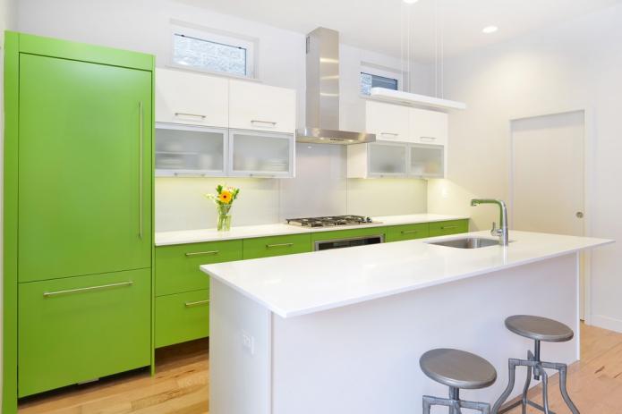 Grüne Farbe der Wände in der Küche. Kann es eine klassische grüne ...