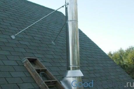 Befestigung Von Schornstein Und Durchgang Durch Das Dach Mit Der  Installation Einer Schürze
