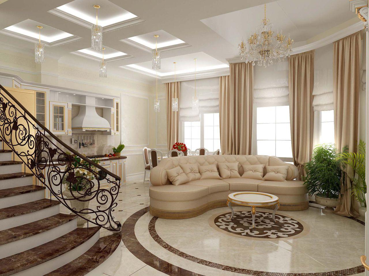 Die Halle ist mit einer Küche in einem privaten Haus kombiniert ...
